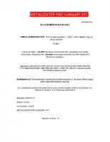 Metalcenter-Teljesítmény nyilatkozat