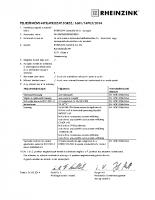 Rheinzink tábla és szalaglemez teljesitmény nyilatkozat
