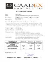 Tetőbiztonsági rendszerek – teljesítmény nyilatkozat